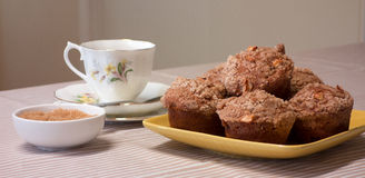 Apple And Cinnamon Muffins, Afternoon Tea. Royalty Free Stock Images
