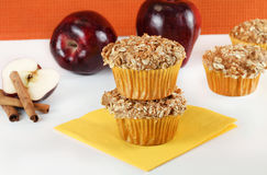 Apple Cinnamon Muffins with Oat Granola Topping Stock Images