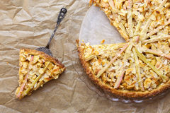 Apple Cinnamon Rhubarb Marzipan Dough Pie Almond Flakes Stock Photo