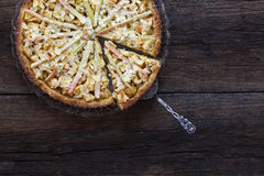 Apple Cinnamon Rhubarb Marzipan Dough Pie Almond Flakes Royalty Free Stock Photo