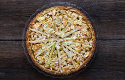 Apple Cinnamon Rhubarb Marzipan Dough Pie Almond Flakes Royalty Free Stock Photography