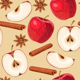 Apple and cinnamon seamless Royalty Free Stock Image