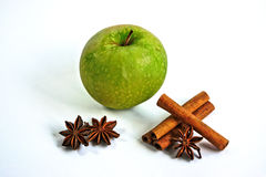 Apple with Cinnamon and Star Anise Stock Photography