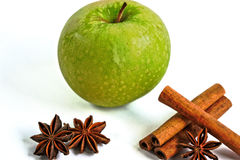 Apple with Cinnamon and Star Anise Royalty Free Stock Images