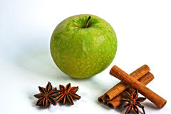 Apple with Cinnamon and Star Anise Royalty Free Stock Photos