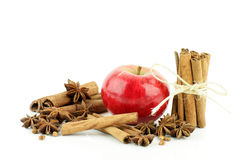 Apple, cinnamon, star anise. Royalty Free Stock Images