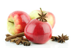Apple, cinnamon, star anise. Stock Images