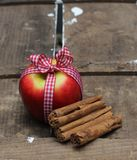 Apple and cinnamon sticks. Red apple tied with a gingham bow on an old wooden crate with three cinnamon sticks Stock Images