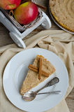 Apple Cinnamon Streusel Tart and Red Apples In the White Wooden Cart Royalty Free Stock Image