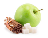 Apple, cinnamon, sugar Stock Photos