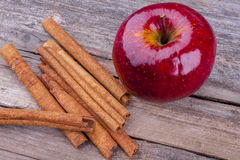 Apple and cinnamon Stock Image