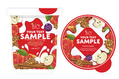 Apple cinnamon Yogurt Packaging Design Template. Royalty Free Stock Photography