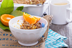Apple and citrus crumble Stock Photo