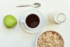 Apple, coffee and cereals Royalty Free Stock Photos