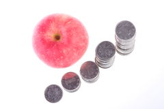 Apple and  coins Royalty Free Stock Image