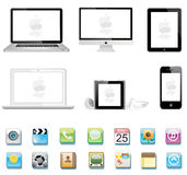 Apple colection. Ipad iphone 4 mac imac ipod icon Royalty Free Stock Photography