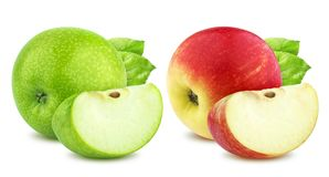 Apple collection. One green and single red apples and quarter piece isolated on white background Stock Images