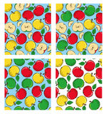Apple colored doodle seamless pattern Stock Photos