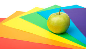 Apple with colorful paper Stock Photography