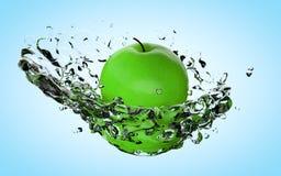 Apple com água espirra na luz bonita - fundo azul rendição 3d Fotografia de Stock Royalty Free