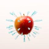 Apple com agulhas 1 Foto de Stock Royalty Free
