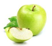 Apple com fatia Imagens de Stock Royalty Free