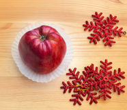Apple com flocos de neve Fotos de Stock