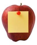Apple com nota Imagem de Stock