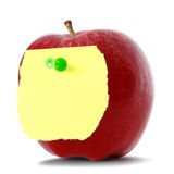 Apple com papel de nota Fotografia de Stock Royalty Free