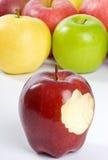 Apple com uma mordida fotografia de stock