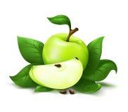 Apple com vetor das folhas Imagens de Stock Royalty Free