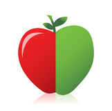 Apple combined from red and green Royalty Free Stock Photos