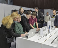 Apple company booth at CEE 2015, the largest electronics trade show in Ukraine Royalty Free Stock Photography