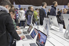 Apple company booth at CEE 2015, the largest electronics trade show in Ukraine Stock Photo