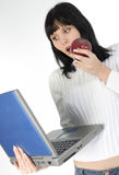 Apple and a Computer Royalty Free Stock Photos