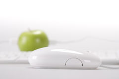 Apple and computer Stock Photo