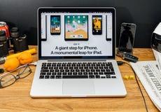 Apple Computer en los últimos avisos de WWDC de IOS 11 para el iPad Imágenes de archivo libres de regalías
