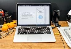 Apple Computer en los últimos avisos de WWDC de la disposición automática Fotos de archivo