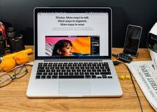 Apple Computer en los últimos avisos de WWDC de la foto app en el mac Foto de archivo libre de regalías