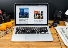 Apple Computer en los últimos avisos de WWDC de la foto app en el mac Fotos de archivo