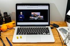 Apple Computer en los últimos avisos de WWDC del nuevo mac Foto de archivo libre de regalías