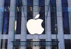 Apple Computer logo in New York City. NEW YORK CITY, NY - DEC 30: Apple store logo on December 30, 2011 in New York City. It is the world's largest publicly Stock Image