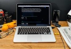 Apple-Computer an spätesten Ankündigungen WWDC von ipad Pro-dimensi Stockbilder