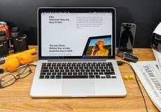 Apple-Computer an spätesten Ankündigungen WWDC von Spezifikt. IOS 11 Stockfotografie