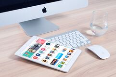 Apple computer and tablet Royalty Free Stock Photos