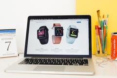 Apple-Computer Website, die verschiedene Gesundheits-APP zur Schau stellt Stockbilder