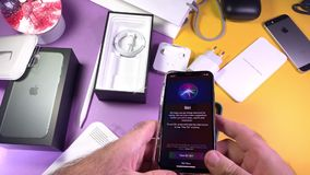 Apple Computers iPhone 11 Pro and 11 Pro Max smartphone. Paris, France - Sep 20, 2019: Time lapse fast motion man hand unboxing unpacking new latest Apple stock video footage