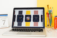 Apple Computers website showcasing Apple Watch straps and faces Royalty Free Stock Photography