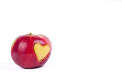 Apple con diverso corazón aislado en blanco Imagenes de archivo