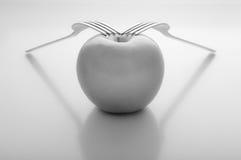 Apple con due forcelle Immagini Stock Libere da Diritti